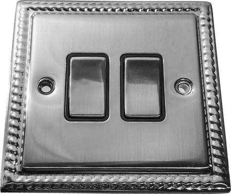 Двухклавишный выключатель проходной Balfour Grand D3022PC