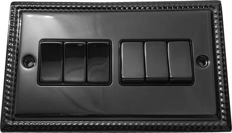 Шестиклавишный выключатель проходной Balfour Grand D3062BN