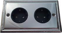 Двойная розетка с заземлением и шторками Balfour Grand D4302PC