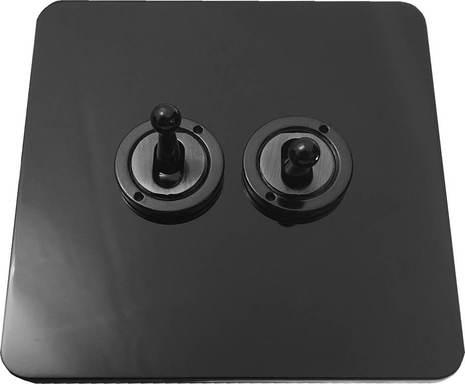 Двухклавишный тумблерный выключатель проходной Balfour Excellent E1100BN