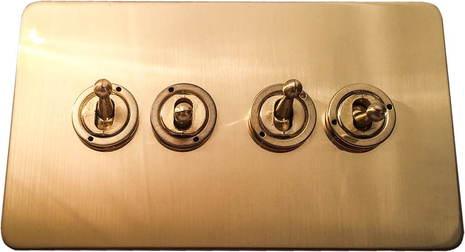 Четырёхклавишный тумблерный выключатель проходной Balfour Excellent E1111BB