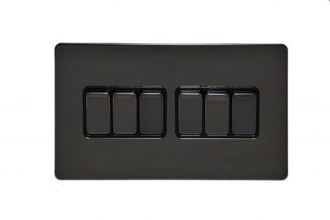 Шестиклавишный проходной выключатель TJ Electric G256-2-146-BN