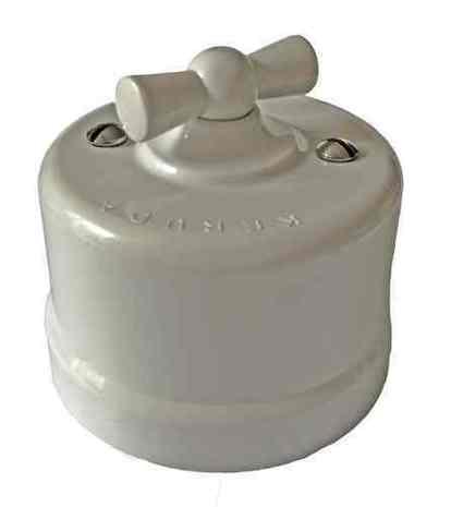 Выключатель 1-кл (проходной) поворотный АБС пластик KERUDA basic белый арт.KBSw1-01