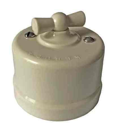 Выключатель 1-кл (проходной) поворотный АБС пластик KERUDA basic цвета слоновая кость арт.KBSw1-02
