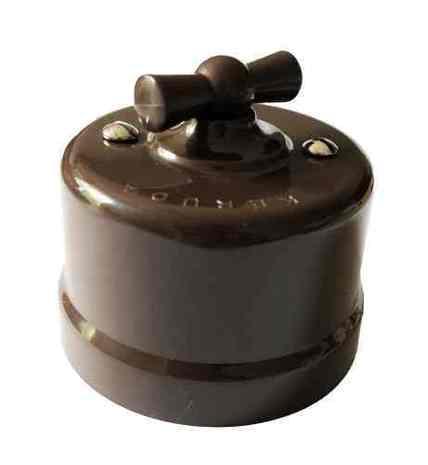 Выключатель 1-кл (проходной) поворотный АБС пластик KERUDA basic коричневый арт.KBSw1-03