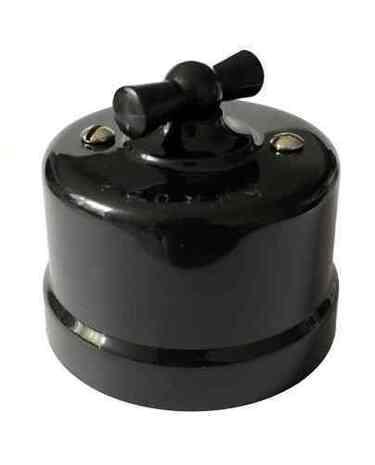 Выключатель 1-кл (проходной) поворотный АБС пластик KERUDA basic черный арт.KBSw1-04