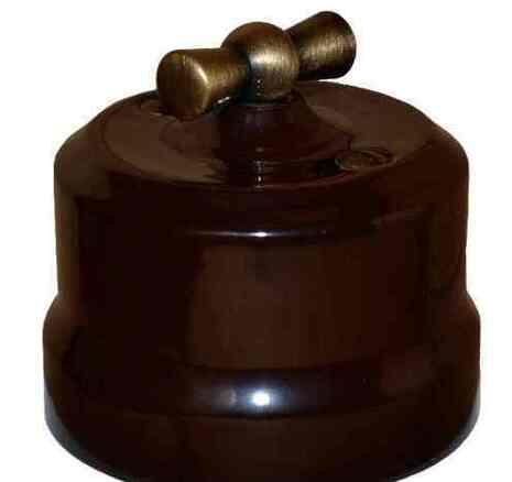 Выключатель 1-кл (проходной) поворотный керамический с бронзовой ручкой KERUDA Verona коричневый. арт.KGBSw1-K03