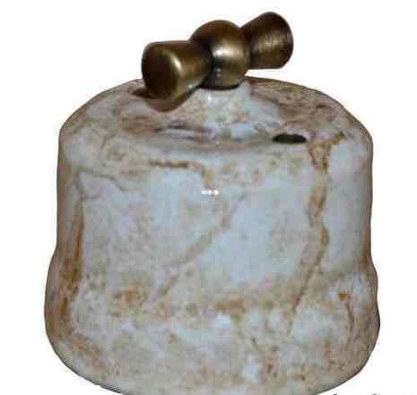 Выключатель 1-кл (проходной) поворотный керамический с бронзовой ручкой KERUDA Verona мрамор арт.KGBSw1-K05