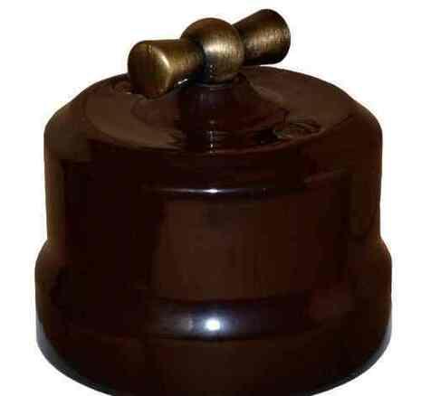 Выключатель поворотный (2-кл) керамический с бронзовой ручкой KERUDA Verona коричневый арт.KGBSw2-K03