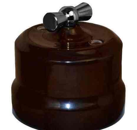 Выключатель 1-кл (проходной) поворотный керамический с серебристой ручкой KERUDA VERONA коричневый арт.KGChSw1-K03
