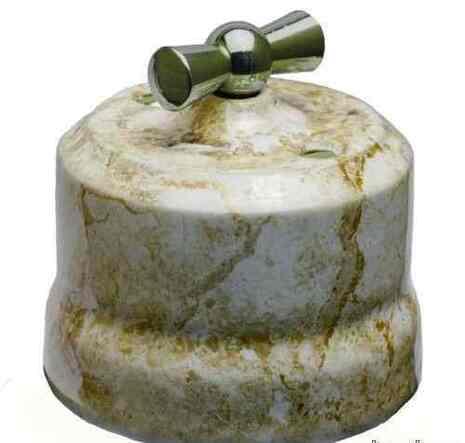 Выключатель 1-кл (проходной) поворотный керамический с серебристой ручкой KERUDA VERONA мрамор арт.KGChSw1-K05