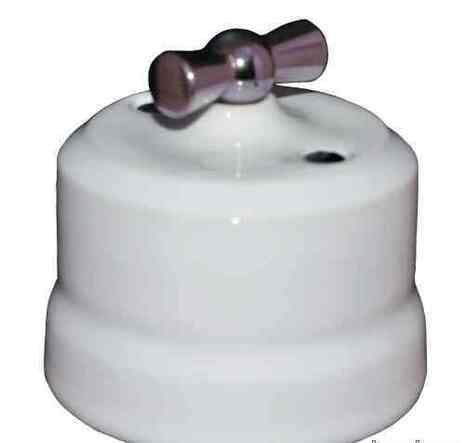 Выключатель поворотный 2-КЛ керамический с серебристой ручкой KERUDA VERONA белый арт.KGChSw2-K01