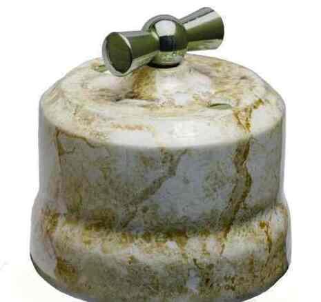 Выключатель поворотный 2-КЛ керамический с серебристой ручкой KERUDA VERONA мрамор арт.KGChSw2-K05