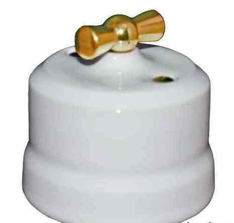 """Выключатель 1-кл (проходной) """"KERUDA Verona"""" с латунной ручкой цвет белый арт.KGGSw1-K01"""