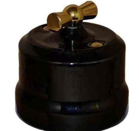 """Выключатель 1-кл (проходной) """"KERUDA Verona"""" с латунной ручкой черный. арт.KGGSw1-K04"""