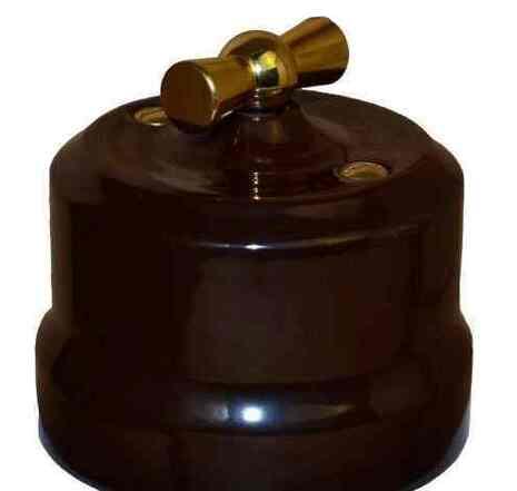 """Выключатель керамический 2-кл """"KERUDA Verona"""" с латунной ручкой коричневый арт.KGGSw2-K03"""