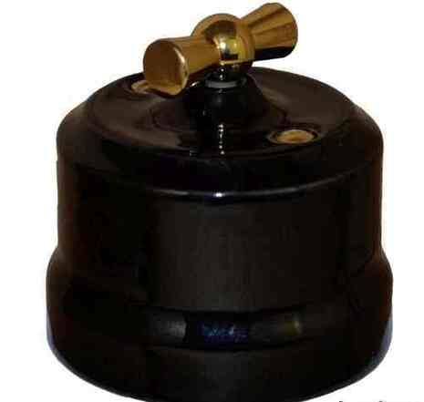 """Выключатель керамический 2-кл """"KERUDA Verona"""" с латунной ручкой цвет черный арт.KGGSw2-K04"""
