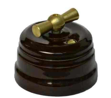 Выключатель 1-кл (проходной) ПОВОРОТНЫЙ КЕРАМИЧЕСКИЙ KERUDA GRANDE КОРИЧНЕВЫЙ С ЛАТУННОЙ РУЧКОЙ арт.KRD0353