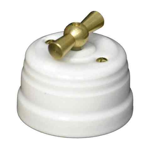 Выключатель 1-кл (проходной) ПОВОРОТНЫЙ КЕРАМИЧЕСКИЙ KERUDA GRANDE БЕЛЫЙ С ЛАТУННОЙ РУЧКОЙ арт.KRD0355