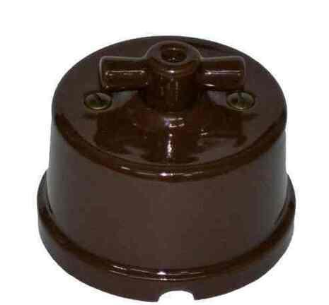 """Выключатель 1-кл (проходной) """"KERUDA Terra"""" керамический коричневый арт.KTSw1-K03"""