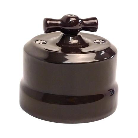 """Выключатель керамический 2-кл """"KERUDA Verona"""" черный KVSw2-K04"""