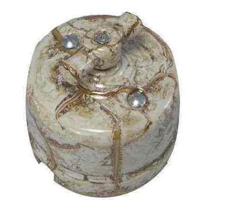 Винтажный выключатель двухклавишный, цвет мрамор, R-SW-26