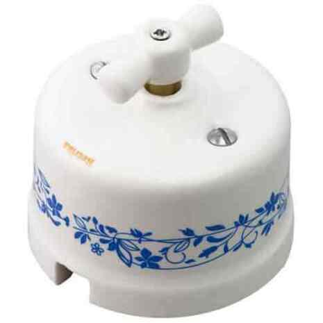 Ретро выключатель голубой орнамент R-SW-204 Retrika двухклавишный