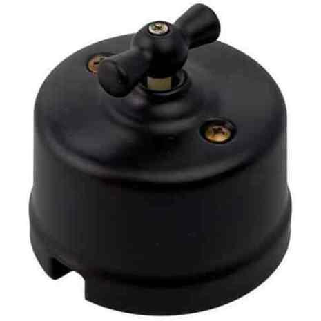 Выключатель 1-кл (проходной) ретро черный матовый R-SW-19 Retrika