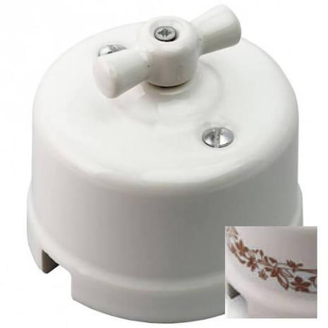 Выключатель 1-кл (проходной), декор коричн. №2 Retrika арт.R-SW-102