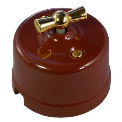 Выключатель 1-кл (проходной), цвет светло-коричневый Retrika арт.R-SW-108