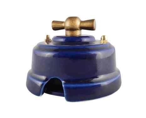 Выключатель 1-кл (проходной) ретро лазурный, ручка серебро, ВП1ЛС ЛЕАНЗА 2-х позиционный