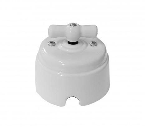 """Выключатель 1-2 кл (проходной) поворотный керамический interior electric, серия """"арбат"""", 220/10а, белый ВПК-01-2"""
