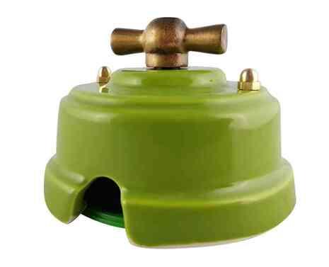 Выключатель 1-кл (проходной) ретро фисташковый, ручка бронза, ВППФБ ЛЕАНЗА 2-х позиционный