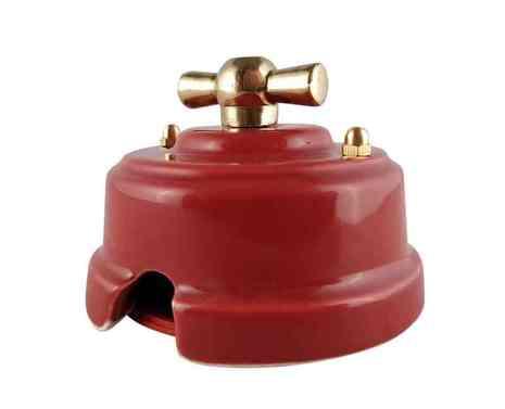 Выключатель 1-кл (проходной) ретро гранатовый, ручка золото, ВП2ГЗ ЛЕАНЗА 4-х позиционный