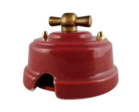 Выключатель 1-кл (проходной) ретро гранатовый, ручка бронза, ВППГБ ЛЕАНЗА 2-х позиционный