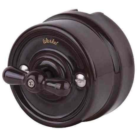 WL18-01-05 Выключатель на 4 положения двухклавишный (коричневый) Ретро арт.WL00367