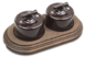 Combi duble-1/Два выключателя 1-клавишных,проходных,в комплекте с 2-местной рамкой B1-201-02/CD-17 Combi duble-1 Коричневый0