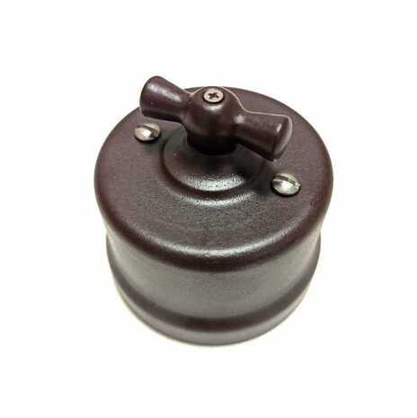 B1-203-02M Bironi Перекрестный выключатель, коричневый матовый