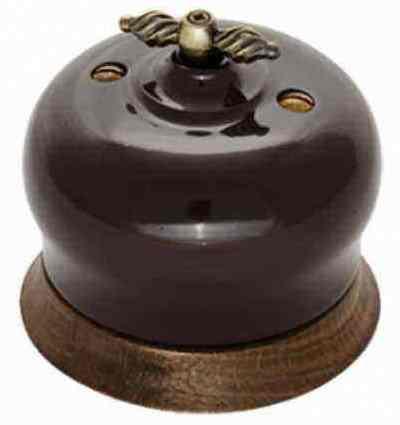 B2-202-02/18 Bironi Выключатель 2-х кл. Фаберже шоколадная ночь