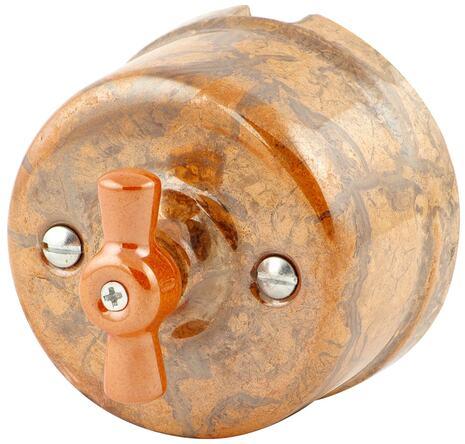 080-989 Выключатель Мон шери проходной двухклавишный, керамический. 240V, 10A.