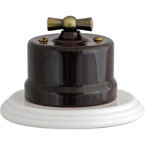 В1-202-02 Bironi Выключатель двухклавишный, коричневый