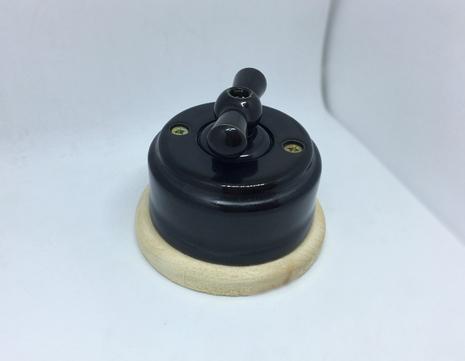 Выключатель 1-кл (проходной) 2х позиц. (Черный глянец) с подроз. береза с КЕР. РУЧКОЙ (БАНТИК) арт.Z003090