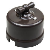 Выключатель 1-кл (проходной) B1-201-22 Bironi пластик, коричневый