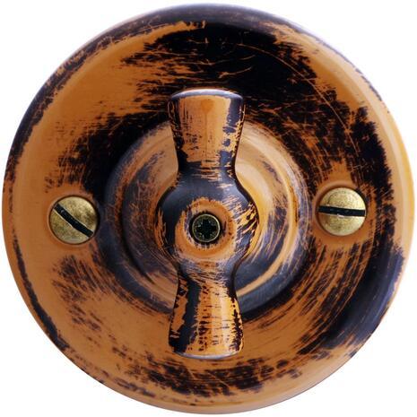 B1-202-DS Bironi Выключатель двухклавишный, дух старины