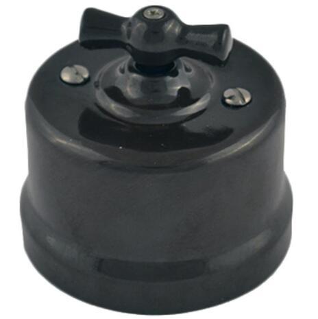 B1-202-23 Bironi Выключатель 2-х клавишный (4 положения) пластик, черный