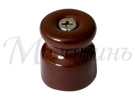 Изолятор фарфоровый коричневый витого провода, D20х24, МЕЗОНИНЪ GE70021-04