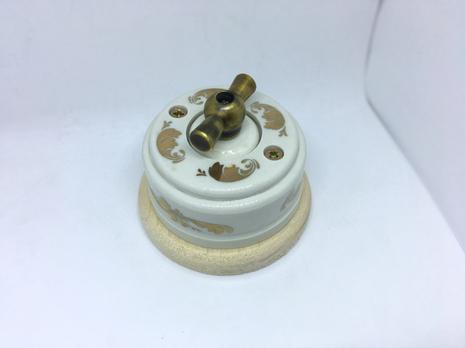 Выключатель 1-кл (проходной) 2х позиц. (Золото) с подроз. береза с МЕТАЛ. РУЧКОЙ бронза арт.Z003100