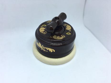 Выключатель 1-кл (проходной) 1 поз. (Магия золота) с подроз. береза с КЕР. РУЧКОЙ (БАНТИК) арт.Z003049