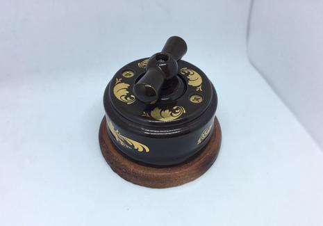 Выключатель 1-кл (проходной) 2х позиц. (Магия золота) с подроз. вишня с КЕР. РУЧКОЙ (БАНТИК) арт.Z003199