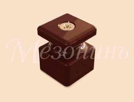 Изолятор фарфоровый квадратный в комплекте с саморезами, размеры: 20х20х25мм МезонинЪ, цвет - коричневый, GE80027-04